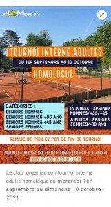 Inscriptions au Tournoi interne adultes de Tennis sur asmeudontennis.com